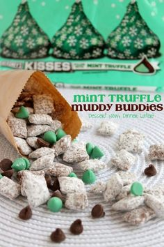 Share it! I am a muddy buddy fan! There is nothing quicker to whip up for a fun party snack than any version of these tasty treats! Last year I made a Gingerbread Puppy Chow that was crazy good! So, continuing with my Christmas tradition of muddy buddies, I have made the easiest Mint Truffle …