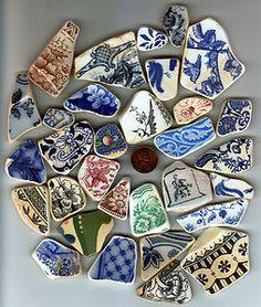 Beach Finds Small Medium Victorian Coloured Pottery Shards | eBay