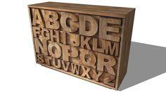 Large preview of 3D Model of cabinet ALPHABET, Maisons du monde. Réf: 121528 prix 649€