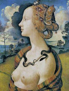 The most beautiful girl in Florence at the time of Ginevra de' Benci. Sister of Amerigo Vespucci, the man who made a map of the New World, America.   Piero di Cosimo - Simonetta Vespucci as Cleopatra (c 1490)