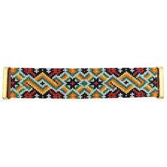 """Bracelet """"Eté Indien"""" manchette Navajo sur Cuir vachette Marron Fermoir Aimanté Doré : Bracelet par deluxal"""