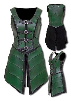 'elf princess' armour. Lovely and protective. A little bit too much cleavage, perhaps, leaving the clavicle and neck region more unprotected, but that could be solved with some shoulder-neck additional leather armour, or with a chainmail or leather tunic underneath. That would make for excellent protective armour overall.