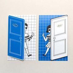 雯屋正品韩国oohlala创意可爱开门人物万用小贺卡男女多用途卡片
