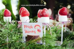 Marshmallow mushrooms from a Woodland Forest Baby Shower. See dozens of pics at…
