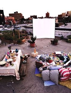 Rooftop picnic and outdoor movie night