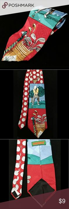 Tabasco McIlhenny Golf Tie This Tabasco McIlhenny golf themed 100% silk tie is in very good preowned condition. It measures approximately 58 inches long and 3.75 inches wide. This tie will be a great addition to your golf clothes, or a great gift for the Tabasco lover in your life! Tabasco Accessories Ties