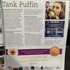 Tank Puffin article featured in this months' West Essex Life magazine!! March is going to be a super fun month! Lots of exiting things taking place in store - Spring promotions!! #tankpuffin #womeninbusiness #westessexlife #WEL #essex #towie #ecigs #ejuice #eliquid #ukvapers #vapers #ukvapeshop #vapecommunity #vapelove #vapefam #vapestyle #vapelife #vapeon