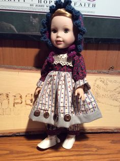 Prairie style doll clothes fit American Girl Wellie Wisher, vintage lace