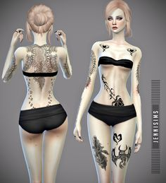Jennisims: Downloads sims 4:CollectionTattoos Tough Girl