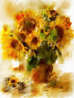 Sunflowers #watercolor jd