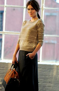 "70s/80s styled ""knit jumpers"" (sweaters) are all over the shops in the UK. I love this understated version matched with a charcoal skirt."