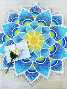 Lotus Mandala Fringe Trim Beach Blanket