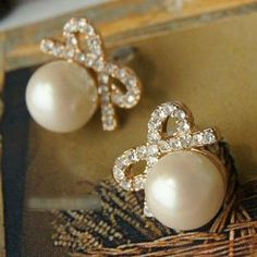 613 Retro full diamond bow pearl earrings Free shipping Fashion Vintage Jewelry 12pair/Lot $13.89