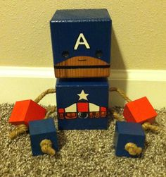 Wood Block Captain America