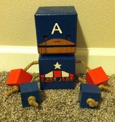 Wood Block Captain America