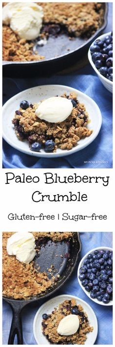 My PCOS Kitchen - Sugar-free & Gluten-free Blueberry Crumble - This delicious crumble is the perfect summer treat after having picked fresh blueberries. Vegan Gluten Free Desserts, Gluten Free Blueberry, Gluten Free Cookies, Healthy Desserts, Low Carb Recipes, Snack Recipes, Cooking Recipes, Snacks, Dinner Recipes