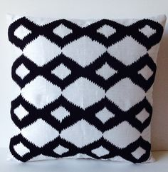 Black White Pillows Covers On White Silk With Black Ikat Embroidery Designer Cushion