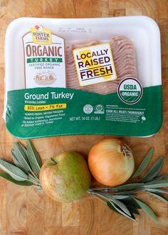 Foster Farms Organic Turkey Apple Sausage Whole Paleo, Gluten Free Foster Farms, Three Beans, Apple Sausage, No Bean Chili, Turkey Meatballs, Ground Turkey Recipes, Paleo, Gluten Free, Sin Gluten