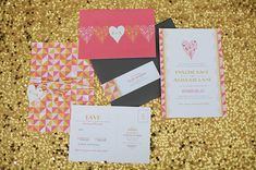 geometric heart invitation
