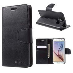 For Galaxy S6 Genuine MERCURY Goospery Black Leather Flip Case Wallet Cover