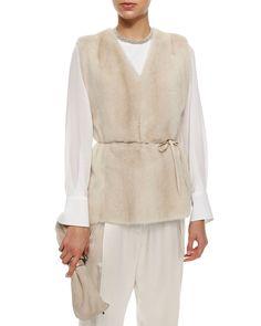 Mink Fur Vest with Monili Tie Belt, Women's, Size: 44, White - Brunello Cucinelli