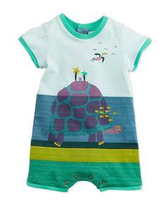 Catimini Striped Turtle Island-Print Shortall