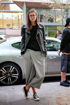 Street Style: Casual Cool Culottes + Converse In Paris (via Bloglovin.com )