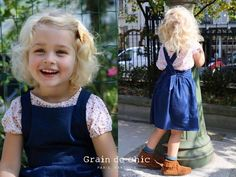 Elegantly simple, the smock dress in navy denim #graindechic #backtoschool #kidsfashion