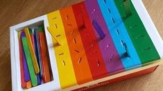 Color matching plus fine motor skills with popsicle sticks color fine matching motor popsicle skills sticks Motor Skills Activities, Preschool Learning Activities, Baby Learning, Sensory Activities, Infant Activities, Young Toddler Activities, Fine Motor Skills, Diy Toys For Toddlers, Child Development Activities
