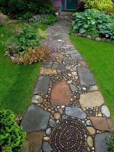 How to Make a Pebble Mosaic - house crush.ideas for our next home - How to Make a Pebble Mosaic Mixed material mosaic walkway. Dream Garden, Home And Garden, Garden Art, Easy Garden, Garden Mosaics, Herb Garden, Garden Edging, Patio Edging, Indoor Garden