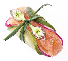 Gravlax with Cucumber and Raddish - © 2010 Jonathan Meter = Could use smoked salmon instead and tie the whole thing up with a scallion - love this idea!