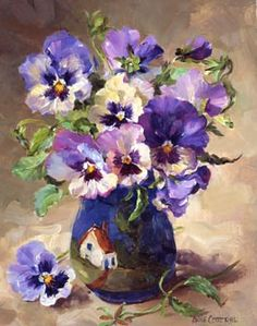 Ann Cotterill OIL Pansies in Torquay Pottery
