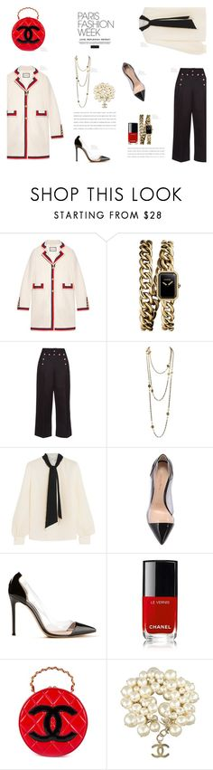 """""""PARIS Fashion Week"""" by canvas-moods ❤ liked on Polyvore featuring Gucci, Chanel, Marc Jacobs, Lanvin, Gianvito Rossi, Elegant, gucci, parisfashionweek and Packandgo"""