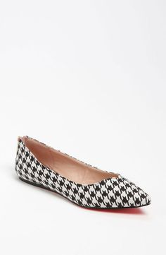 Today's So Shoe Me is the Lilliann Flat by Betsey Johnson, $100, available at Nordstrom. A traditional houndstooth pattern with a bit of Betsey flair make for an elegant yet edgy flat that can go from the office to after-hours.