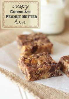 Crispy Chocolate Peanut Butter Rice Krispies Bars – A kid pleasing treat and great afternoon snack, this no bake recipe is sure to please.