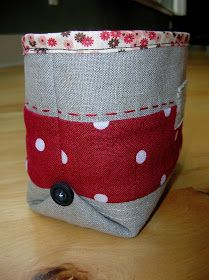 Box corners from the outside (right side) to add an interesting design detail to finished fabric baskets