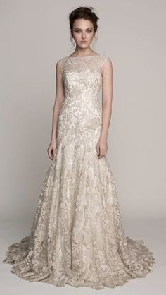 Kelly Faetanini's NIKOLA.  Metallic guipure lace fit-to-flare gown with detachable neckline. Available strapless.