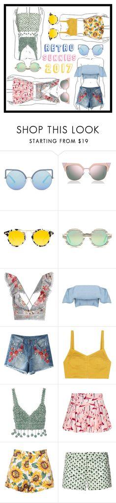 """Retro Sunglasses"" by beanpod ❤ liked on Polyvore featuring Matthew Williamson, Fendi, Krewe, Illesteva, Zimmermann, Isa Arfen, Rosie Assoulin, RED Valentino and Milly"
