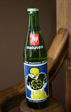 Vintage NOTRE DAME IRISH FOOTBALL 7-UP BOTTLE-FULL-1977 National Champions/green