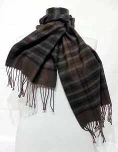 Brown Scarf, Brown Men's Scarf, Brown Wool and Chasmere Men's Scarf - KR1411062 #handmadeatamazon #nazodesign