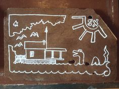 What's even more cool than an historic boathouse on Lake Champlain? Champy swimming in front of said boathouse. In a doodle. On a slate! Lake Champlain, Boathouse, Slate, Doodles, Kids Rugs, Art, Landscape Rake, Art Background, Chalkboard
