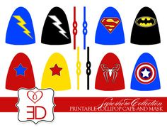 Superhero Collection - Printable Lollipop Cape and Mask - INSTANT DOWNLOAD via Etsy