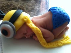 fondant baby/ cake topper/ baby shower/ fondant minion baby/ minion outfit/ the despicable me/ minion character/ minions/ edible minion