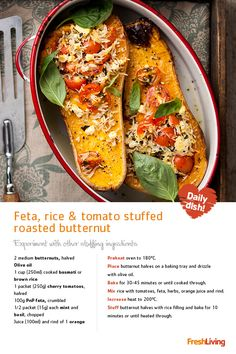 #Meatfree Monday means we're doing our bit for the planet today! Join us by serving #vegetarian feta, rice & tomato-stuffed #butternuts for dinner. #dailydish #recipe