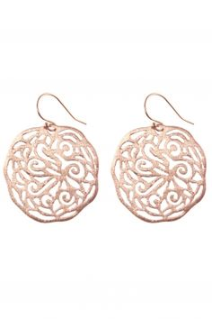 rose gold plated ornament earrings...