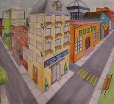 Completed Date: Medium: watercolors, colored pencils Description: For this piece, I studied the mechanics and techniques of 2 point perspective and then used a bit of creativity to d… 2 Point Perspective Drawing, Perspective Art, High School Art, Middle School Art, 8th Grade Art, Ecole Art, Drawing Projects, School Art Projects, 3d Prints