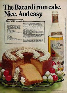 rum cake, easy recipe from 1979 Hey, my mom used to make that! - Bacardi rum cake, easy recipe from my mom used to make that! - Bacardi rum cake, easy recipe from 1979 Retro Recipes, Old Recipes, Vintage Recipes, Cake Recipes, Dessert Recipes, Cooking Recipes, Recipies, 1950s Recipes, Frosting Recipes