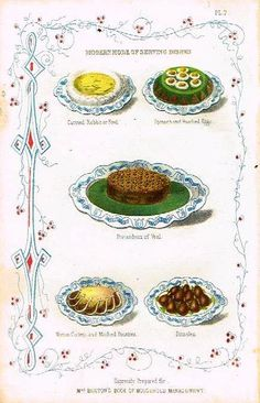 """Mrs. Beeton's """"BOOK OF HOUSEHOLD MANAGEMENT"""" Chromolithograph -1909- CURRIED RABBIT OR FOWL"""