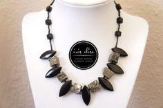Jet & Pyrite Druzy Spike Necklace #iriselise
