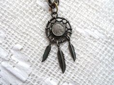Indian Head Nickle Dream Catcher Necklace- Buffalo Nickel Dreamcatcher Necklace- Unique Vintage Jewelry- Costume Jewelry- Orphaned Treasure by OrphanedTreasure on Etsy